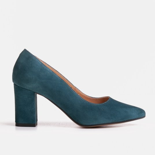 Blue suede pumps with natural