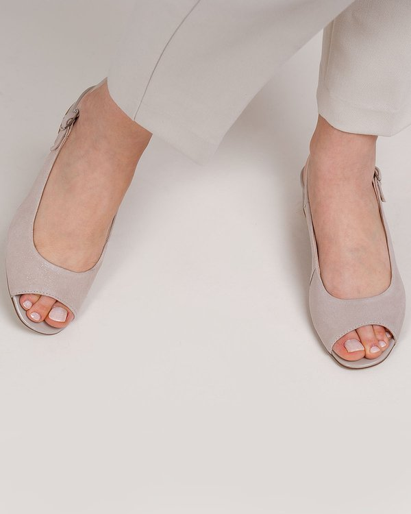 237P beige sandals - leather suede with glitter