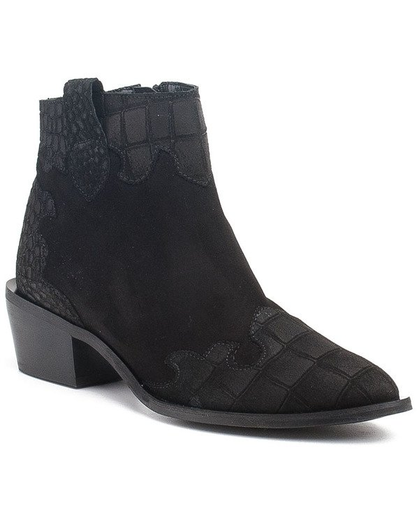 Black suede boots from a natural spring