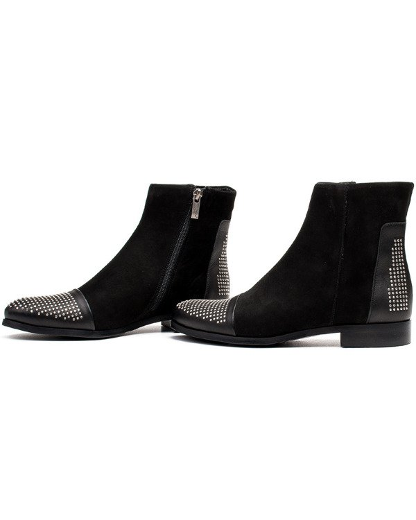 Marco Shoes leather boots with cubic zirconia, jetami