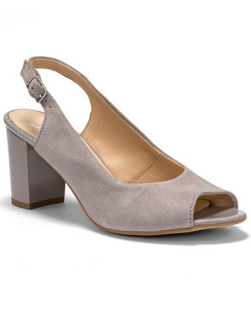 Marco sandals gray leather on the heel stable