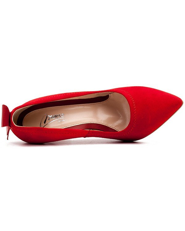 Red high heel suede with stitching