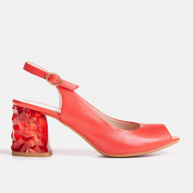 Red leather sandals with heel 3D
