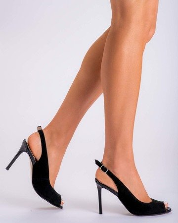 Velor black sandals on a pin 1188P