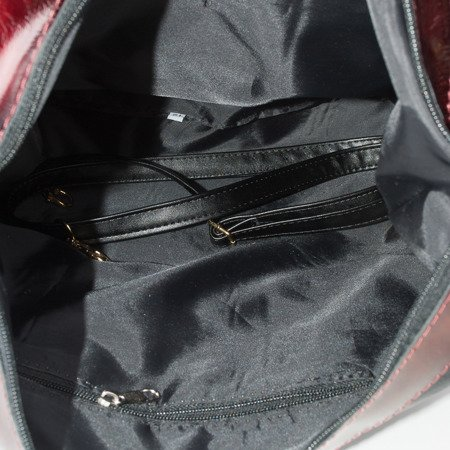 Zipper bag with a gold and crimson leather insert