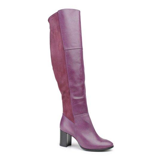 d30948f5 Długie kozaki ze fioletowej skóry nappa oraz zamszu na filcu + wełna